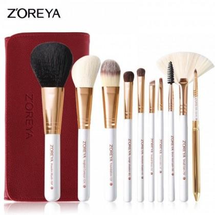 Набор кистей для макияжа Zoreya Red 10 шт