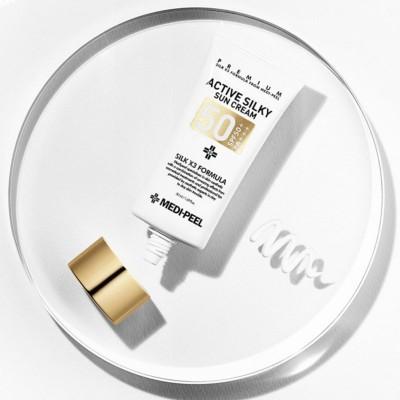 Солнцезащитный крем с пептидами и аминокислотами шелка MEDI-PEEL Active Silky Sunscreen SPF50+/PA+++