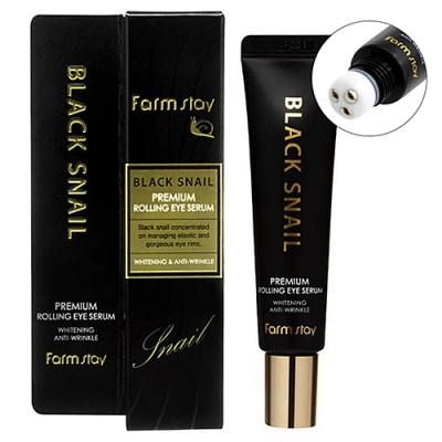 Премиум сыворотка для кожи вокруг глаз с черной улиткой FarmStay Black Snail Premium Rolling Eye Serum