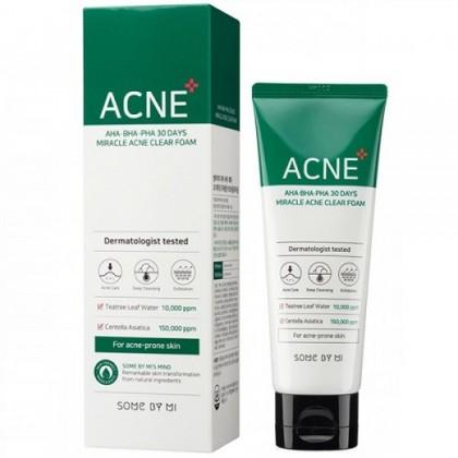 Очищающая пенка для проблемной кожи SOME BY MI AHA BHA PHA 30 DAYS MIRACLE ACNE CLEAR FOAM 100ML